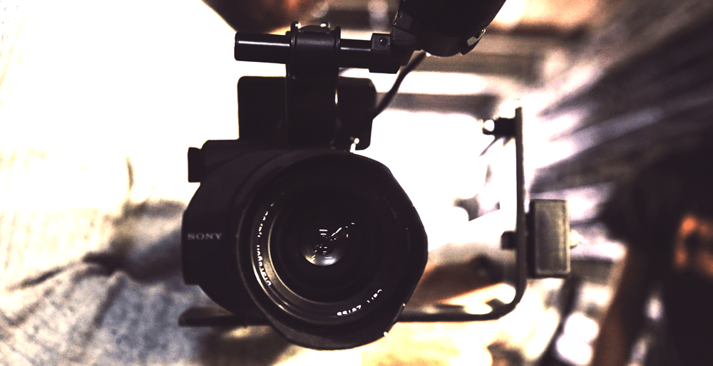 very close up of camera with a blurred background