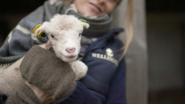picture of woman holding a lamb